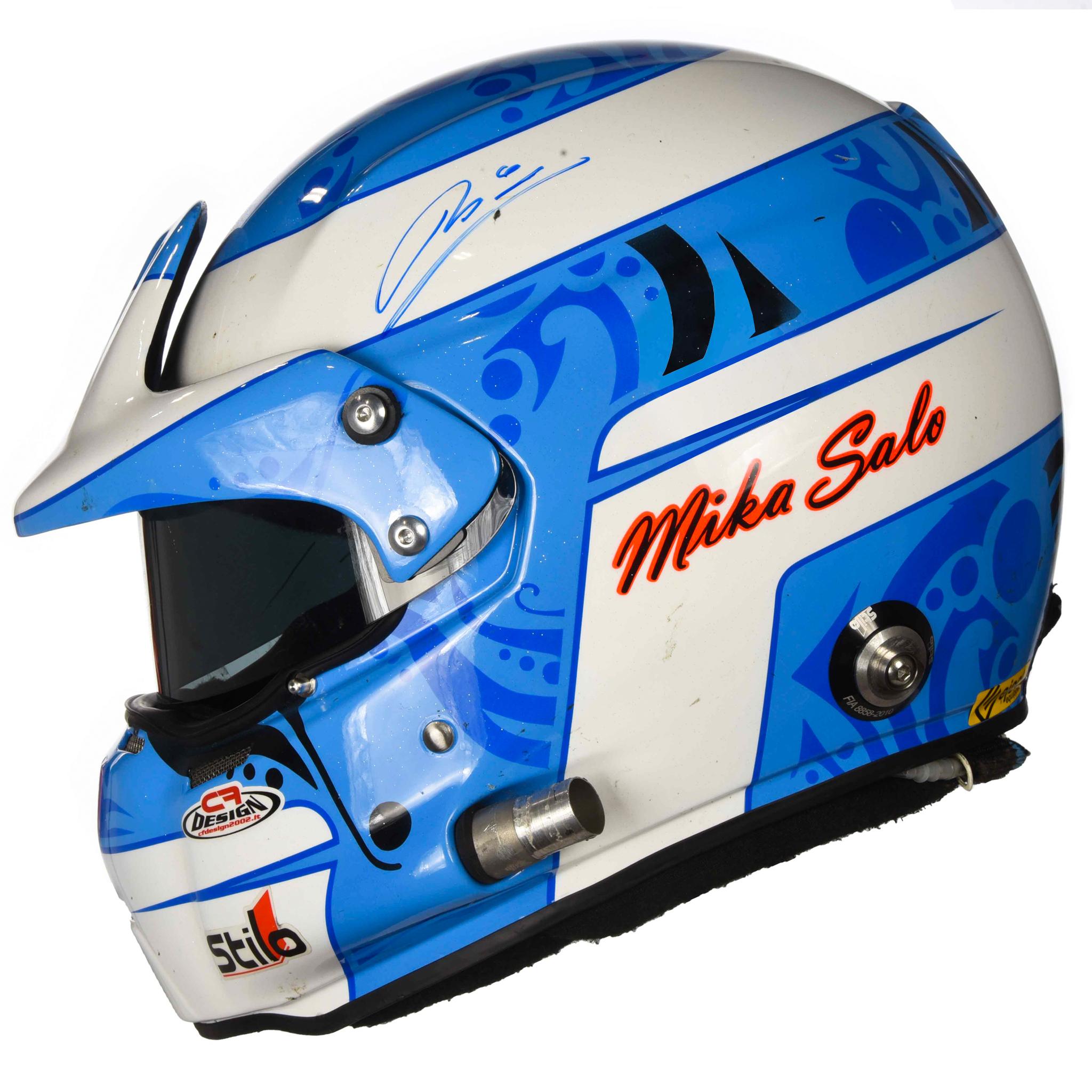 2011 12 Mika Salo Signed Race Winning V8 Supercar Sebring 12 Hour Ferrari Stilo St4 Wgt Helmet Racing Hall Of Fame Collection