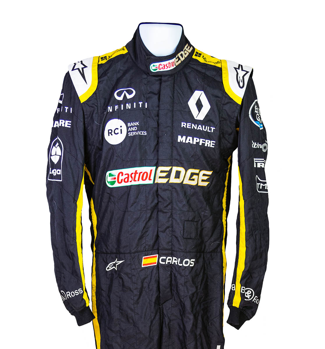 2018 Carlos Sainz Race Used Renault F1 Suit Racing Hall Of Fame Collection
