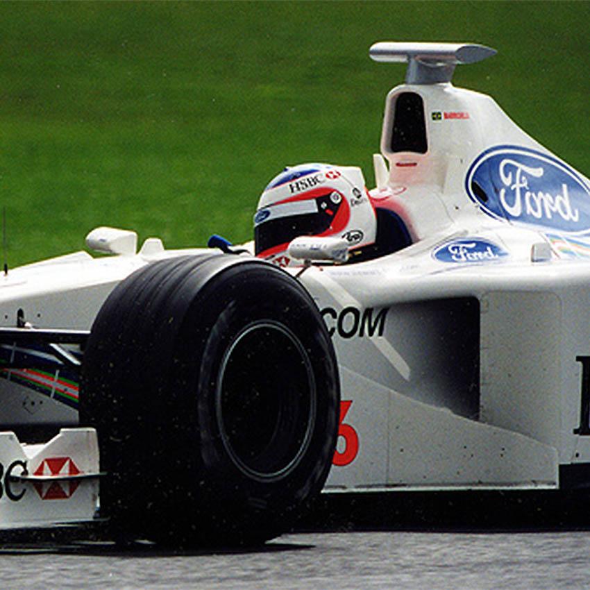 Race Used F1 Components: 1999 Rubens Barrichello Race Used Stewart F1 Helmet