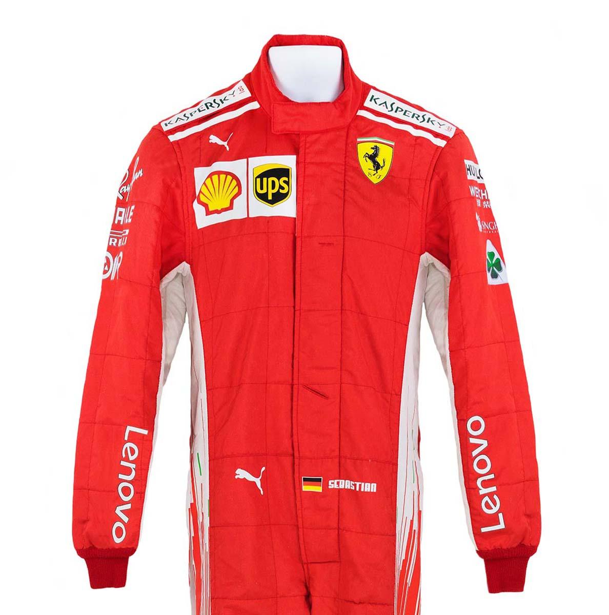 2018 Sebastian Vettel Race Worn Scuderia Ferrari F1 Suit Racing Hall Of Fame Collection