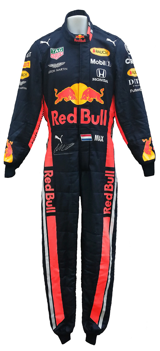 Racing Fire Suits >> 2019 Max Verstappen Signed Race Used Red Bull Racing F1 Suit