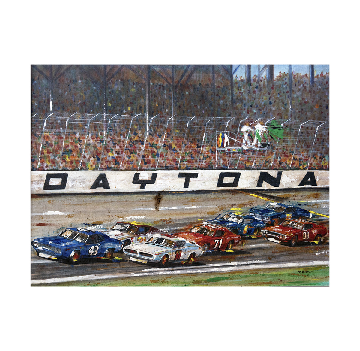 1971 Richard Petty Third Daytona 500 Win Original Ron Burton Artwork Racing Hall Of Fame Collection