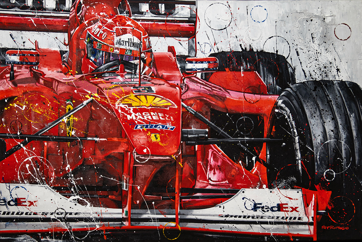 2000 Michael Schumacher Supreme Ferrari F1 Championship Original Artwork By Arturo Art Rotondo Racing Hall Of Fame Collection